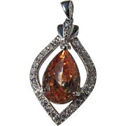 Sterling Silver Pendant with Mexican Fire Opal and White Zircon