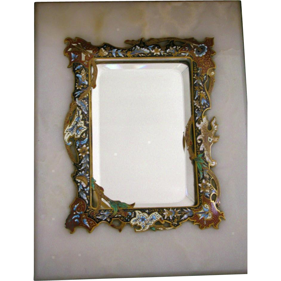 Antique french mirror champleve enamel inlay on marble for French mirror