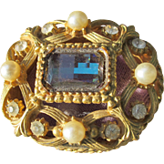 Florenza Box Jeweled with Glass Stones and Faux Pearls 1960's Small Ring Box