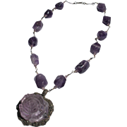 Amethyst Rose Necklace Crystal Stones with Carved Rose