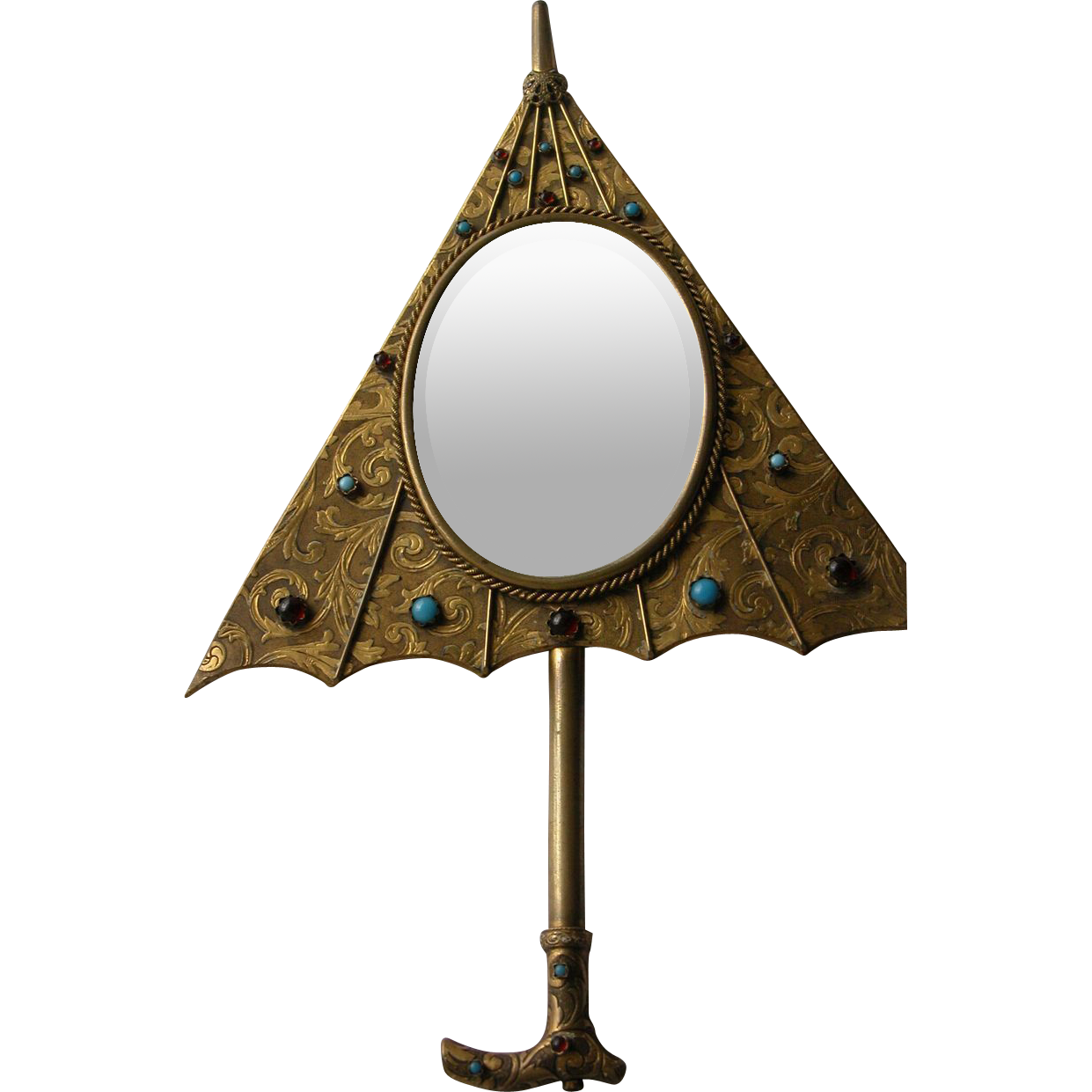 1920's Jeweled Mirror for Wall or Hand Mirror in Shape of an Umbrella with Cabochons