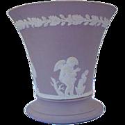 Wedgwood Vase in Lavender Taupe Marked England Cherubs
