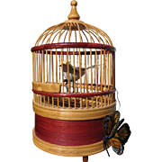 Bird Cage Music Box with Tweeting Bird in Wicker Cage