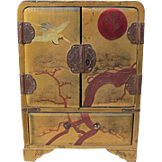 Jewelry Box with Oriental Decor in Gold and Red Four Drawers