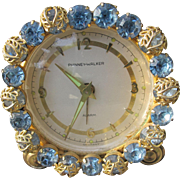 Jeweled Clock From German Made with Blue Stones Filigree Leaves  Wind Up Clock