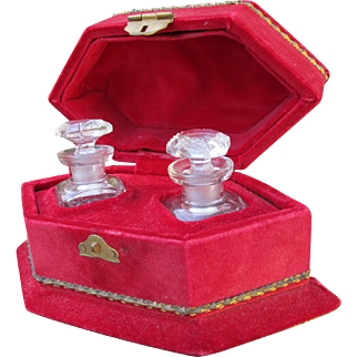 Antique Perfume Bottles with Carrier Molded Glass Great Condition