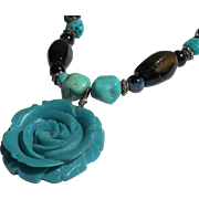 Turquoise Beaded Necklace with Rose 1980's Vintage Necklace