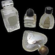Mini Perfume Bottles Four Glass Minis from 1930's 1940's