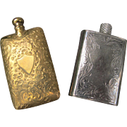 Lay Down Perfume Bottles in Silver and Bronze Victorian Era