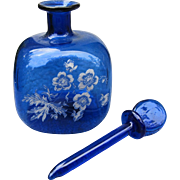 Hand Blown Mini Perfume Bottle with Hand Painted Flowers and Long Glass Dauber