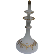 French Opaline Perfume Bottle with Gold Enamel 1880's