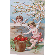Valentine's Post Card with Cherubs and Hearts Embossed from Germany