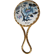 Limoges Hand Mirror Porcelain Hand Painted Vintage Mirror
