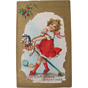 Christmas Postcard Frances Brundage Artist Girl on Stick Horse 1911
