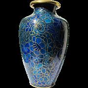 Oriental Vase Cloisonne Enamel 1,000 Flower Pattern in Blue