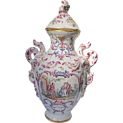 Vueve Perrin Jar with Lid Faience French Glazed Pottery 18th Century Rococo Style 1748-1803