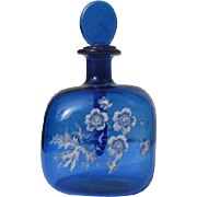 Decorative Perfume Bottle Blue Glass Small Long Glass Dauber Hand Painted Flowers