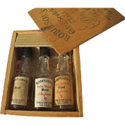 Novelty Perfume Bottles Resembles Liquor Bottles in Wood Box Robinson's 1930