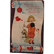 Valentines Postcard Artist Signed by R.F. Outcault Buster Brown and Tige
