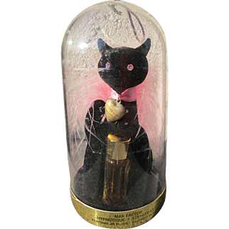 Max Factor Perfume Bottle Novelty Domed Cat with Perfume Perfect Unused Condition  1960's