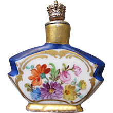 Dresden Perfume Bottle Crown Top with Hand Painted Flowers 1920's Porcelain Shaker Perfume
