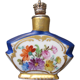 Dresden Perfume Bottle Crowntop with Hand Painted Flowers 1920's Porcelain Shaker Perfume