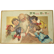 Rare Postcard for New Years with Father Time Rare Signed by Francis Brundage 1911
