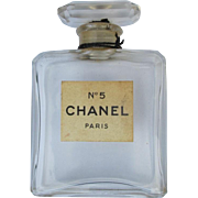 Vintage Chanel No. 5 Perfume Bottle Early All Glass with Label Paris France
