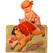Mechanical Valentines Day Card by Twelvetrees Baby on Pig Moves 1938