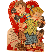 Mechanical Valentines Day Card Large with Old Phones and Dog From Mama 1940's