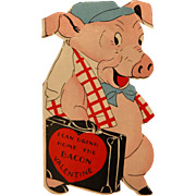Twelvetrees Valentine's Day Card with Pig To Grandma 1930's