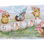 Easter Post Card by Tucks Engraved with Chicks wearing Hats Fantasy Postcard