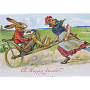 Easer Fantasy Postcard with Dressed Rabbit and Hen Printed in Germany