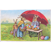 Fantasy Easter Postcard with Dressed Rabbits Printed in Germany