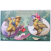 Easter Fantasy Postcard with Dress Chicks Unused with Glitter