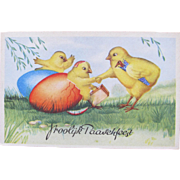 Easter Post Card with Chicks Unused Colorful Germany