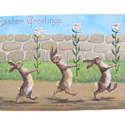 Easter Post Card with Bunny Rabbits Carrying Lilies
