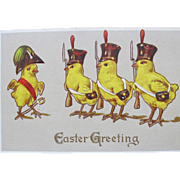 Easter Fantasy Postcard with French Chicks in Uniform