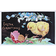 Easter Postcard with Chick and Snail Printed in Germany Crome