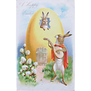 Tucks Easter Postcard with Bunny Serenading Egg House Unused