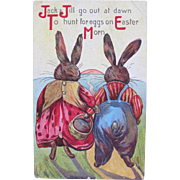 Easter Card with Jack and Jill Bunnies Dressed Rabbits Printed in Germany