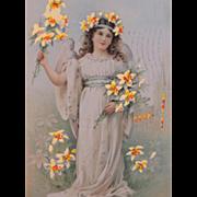Hold to Light Easter Postcard Illustrator Frances Brundage 1908