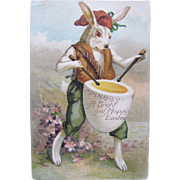 Easter Postcard with Dressed Rabbit Playing Drums with Egg