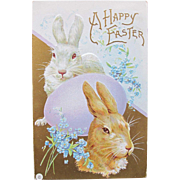 Easter Postcard with Two Big Bunnies Gold Metallic