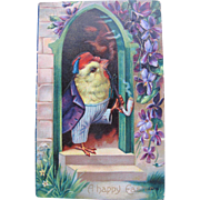 Easter Postcard with Smoking Chick Embossed Printed in Germany