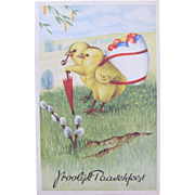 Easter Postcard with Chicks Eggs and Umbrella