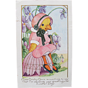 Easter Postcards with Dressed Chick in Easter Clothes with Bible