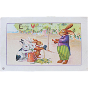 Easter Postcard of Dressed Bunny Rabbits Listening to Sermon