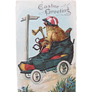 Easter Postcard with Chick Driving a Boot Mobile