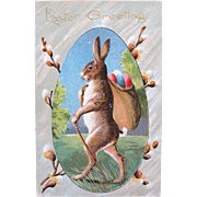 Big Bunny Easter Postcard with Walking Stick and Big Bag of Eggs